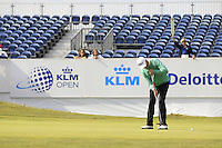Soren Hansen (DEN) on the 18th during Round 2 of the KLM Open at Kennemer Golf &amp; Country Club on Friday 12th September 2014.<br /> Picture:  Thos Caffrey / www.golffile
