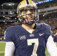 Pitt quarterback Tom Savage celebrates the win. The Pittsburgh Panthers defeated the Notre Dame Fighting Irish 28-21 at Heinz Field, Pittsburgh, Pennsylvania on November 9, 2013.