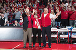 "Wisconsin Badgers former Head Coach Dick Bennett, Chancellor Rebecca Blank and Athletic Director Barry Alvarez sing ""Varsity"" during a halftime presentation to honor the late Albert ""Ab"" Nicholas during halftime of an NCAA Big Ten Conference men's college basketball game against the Ohio State Buckeyes Thursday, January 12, 2017, in Madison, Wisconsin. The Badgers won 89-66. (Photo by David Stluka)"