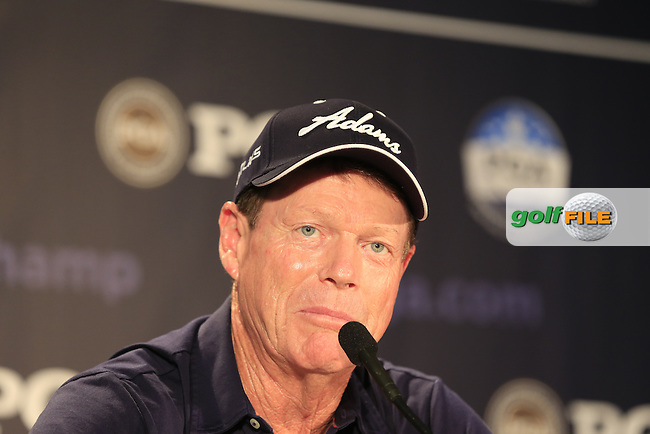 2014 US Ryder Cup Captain Tom Watson (USA) speaks in the interview room during Wednesday's Practice Day of the 95th US PGA Championship 2013 held at Oak Hills Country Club, Rochester, New York.<br /> 7th August 2013.<br /> Picture: Eoin Clarke www.golffile.ie