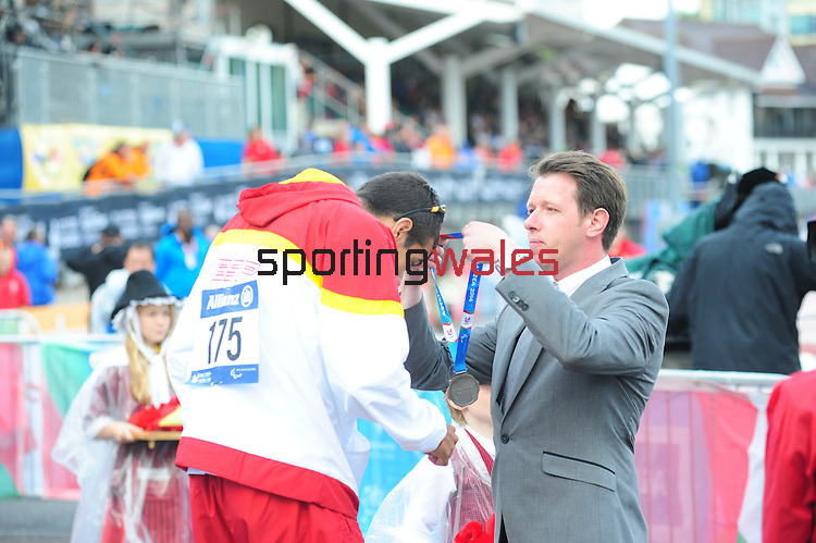 IPC European Athletics Championship 2014<br /> Swansea University<br /> <br /> Medal ceremony: Men's 200m T38. <br /> <br /> 21.08.14<br /> Chris Vaughan-SPORTINGWALES