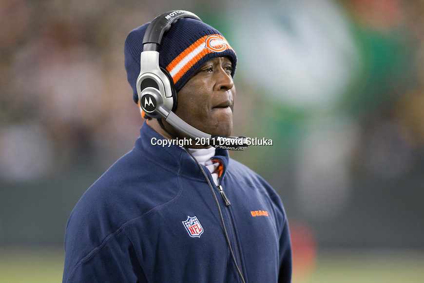 Chicago Bears Head Coach Lovie Smith looks on during a week 16 NFL football game against the Green Bay Packers on December 25, 2011 in Green Bay, Wisconsin. The Packers won 35-21. (AP Photo/David Stluka)