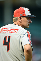 Coach and Executive VP of Baseball Operations for Baseball Factory Steve Bernhardt during the Under Armour All-American Game on August 16, 2014 at Wrigley Field in Chicago, Illinois.  (Mike Janes/Four Seam Images)