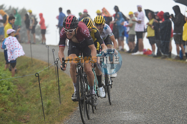 Geraint Thomas (WAL) Team Ineos, Steven Kruijswijk (NED) Team Jumbo-Visma and World Champion Alejandro Valverde (ESP) Movistar Team approach the finish on Prat d'Albis during Stage 15 of the 2019 Tour de France running 185km from Limoux to Foix Prat d'Albis, France. 20th July 2019.<br /> Picture: Colin Flockton | Cyclefile<br /> All photos usage must carry mandatory copyright credit (© Cyclefile | Colin Flockton)