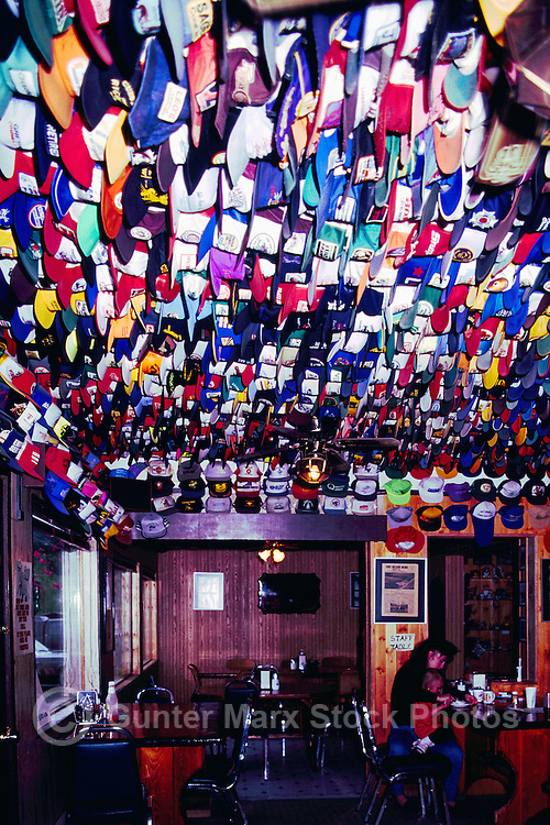 Toad River Lodge and Cafe, Northern BC, British Columbia, Canada - Hat Collection, Baseball Caps tacked to Ceiling