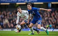 Erik Lamela of Spurs & Andreas Christensen of Chelsea during the Premier League match between Chelsea and Tottenham Hotspur at Stamford Bridge, London, England on 1 April 2018. Photo by Andy Rowland.
