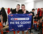 Sheffield United's Billy Sharp and Paul Coutts celebrate promotion during the League One match at the Sixfields Stadium, Northampton. Picture date: April 8th, 2017. Pic David Klein/Sportimage