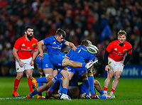 28th December 2019; Thomond Park, Limerick, Munster, Ireland; Guinness Pro 14 Rugby, Munster versus Leinster; Rowan Osbourne of Leinster kicks the ball clear from the ruck - Editorial Use
