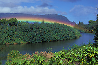 "Rainbow at Hanalei River, with """"Bali hai"""" mountain (Makana) in the background, Kauai north shore morning."