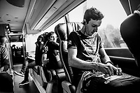 Adam Yates (GBR/Mitchelton-Scott) pinning on his race number prior to the start<br /> <br /> 99th Milano - Torino 2018 (ITA)<br /> from Magenta to Superga: 200km