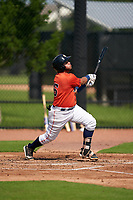 GCL Astros Abraham Castillo (16) at bat during a Gulf Coast League game against the GCL Mets on August 10, 2019 at FITTEAM Ballpark of the Palm Beaches Training Complex in Palm Beach, Florida.  GCL Astros defeated the GCL Mets 8-6.  (Mike Janes/Four Seam Images)