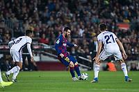29th October 2019; Camp Nou, Barcelona, Catalonia, Spain; La Liga Football, Barcelona versus Real Valladolid; 10 Lionel Messi moves the ball past Michel during La Liga match against Valladolid - Editorial Use
