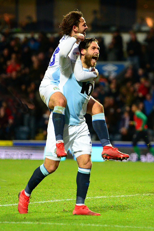 Blackburn Rovers' Bradley Dack celebrates scoring his side's second goal with his team-mate Danny Graham<br /> <br /> Photographer Richard Martin-Roberts/CameraSport<br /> <br /> The EFL Sky Bet Championship - Blackburn Rovers v West Bromwich Albion - Tuesday 1st January 2019 - Ewood Park - Blackburn<br /> <br /> World Copyright © 2019 CameraSport. All rights reserved. 43 Linden Ave. Countesthorpe. Leicester. England. LE8 5PG - Tel: +44 (0) 116 277 4147 - admin@camerasport.com - www.camerasport.com