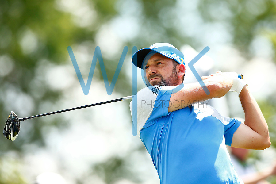 Sergio Garcia tees off on the 1st hole during the 2016 U.S. Open in Oakmont, Pennsylvania on Sunday June 19, 2016. (Photo by Jared Wickerham / DKPS)