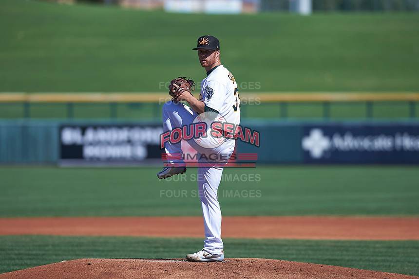 Mesa Solar Sox starting pitcher Logan Shore (35), of the Oakland Athletics organization, delivers a pitch to the plate during a game against the Surprise Saguaros on October 20, 2017 at Sloan Park in Mesa, Arizona. The Solar Sox walked-off the Saguaros 7-6.  (Zachary Lucy/Four Seam Images)