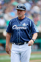 Columbus Clippers manager Chris Tremie (26) during a game against the Gwinnett Stripers on May 17, 2018 at Huntington Park in Columbus, Ohio.  Gwinnett defeated Columbus 6-0.  (Mike Janes/Four Seam Images)