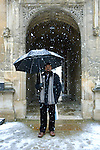 Ben Okri in the snow at the Bodleian Library during the Sunday Times Oxford Literary Festival, UK, 16 - 24 March 2013.<br />