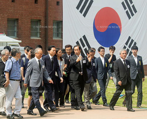 Yukio Hatoyama, Aug 12, 2015 : Japan's former Prime Minister Yukio Hatoyama (3rd L, first row) visits the Seodaemun Prison History Hall in Seoul, South Korea. The Seodaemun Prison History Hall was a prison where Japan had imprisoned Korean fighters for independence during Japan's colonial rule of Korea from 1910-1945. (Photo by Lee Jae-Won/AFLO) (SOUTH KOREA)