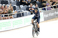 Jordan Kerby  after finishing first in the ME TP during the UCI Track Cycling World Cup on January 18, 2019 in Cambridge New Zealand. (Photo by Dianne Manson)