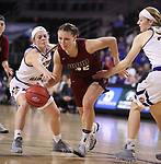 SIOUX FALLS, SD: MARCH 7: Jenna Gunn #32 of IUPUI drives between Western Illinois defenders during the Women's Summit League Basketball Championship Game on March 7, 2017 at the Denny Sanford Premier Center in Sioux Falls, SD. (Photo by Dick Carlson/Inertia)