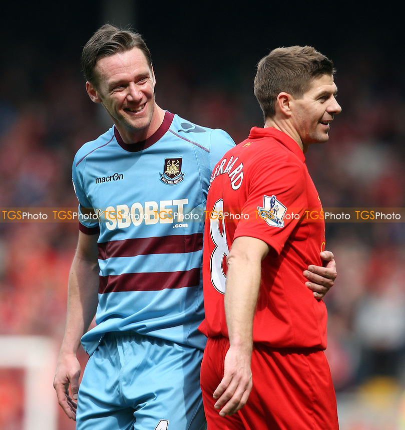 Kevin Nolan of West Ham and Steven Gerrard of Liverpool share a joke - Liverpool vs West Ham United, Barclays Premier League at Anfield, Liverpool 07/04/13 - MANDATORY CREDIT: Rob Newell/TGSPHOTO - Self billing applies where appropriate - 0845 094 6026 - contact@tgsphoto.co.uk - NO UNPAID USE.