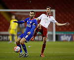 Chris Basham of Sheffield Utd challenges Liam Kelly of Oldham Athletic - FA Cup Second round - Sheffield Utd vs Oldham Athletic - Bramall Lane Stadium - Sheffield - England - 5th December 2015 - Picture Simon Bellis/Sportimage