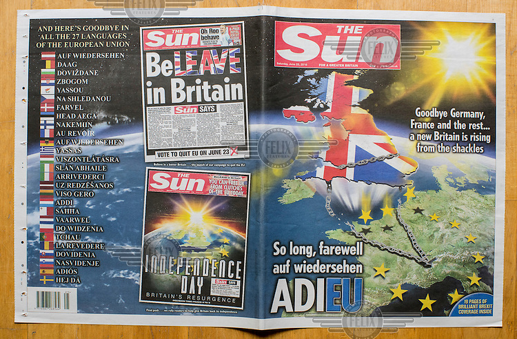 The front cover of the Eurosceptic tabloid, The Sun, on 25 June 2016, two days after the EU referendum. The Sun, owned by Australian media tycoon Rupert Murdoch, supported the Leave (the EU) side during the campaign leading up to the vote.
