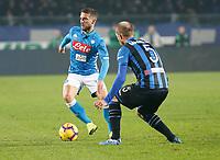 Dries Mertens of Napoli  during the  italian serie a soccer match,Atalanta - SSC Napoli at  the Atleti azure d'italia   stadium in Bergamo Italy , December 03, 2018