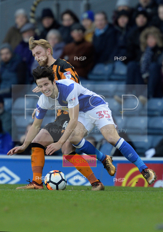 06/01/2018 Emirates FA Cup Third Round Blackburn Rovers v Hull City<br /> <br /> Jackson Irvine fouls Lewis Travis