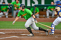 Anthony Villa (37) of the Great Falls Voyagers follows through on his swing against the Ogden Raptors during the Pioneer League game at Lindquist Field on August 18, 2016 in Ogden, Utah. Ogden defeated Great Falls 10-6. (Stephen Smith/Four Seam Images)