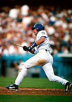 Mark Grudzielanek of the Los Angeles Dodgers participates in a Major League Baseball game at Dodger Stadium during the 1998 season in Los Angeles, California. (Larry Goren/Four Seam Images)