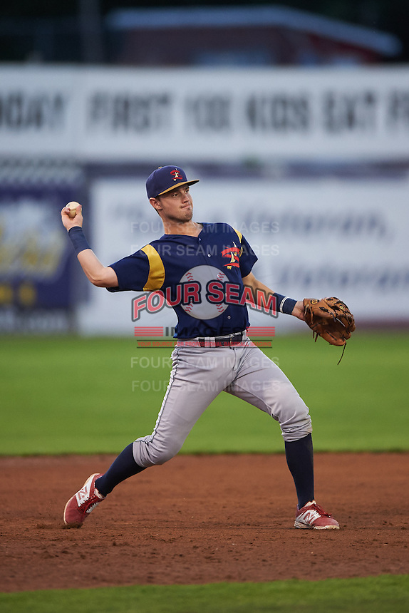 State College Spikes third baseman Cole Lankford (3) throws to first during a game against the Batavia Muckdogs August 23, 2015 at Dwyer Stadium in Batavia, New York.  State College defeated Batavia 5-3.  (Mike Janes/Four Seam Images)