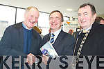 NICE TO MEET YOU: Liam Lynch from Knocknagoshel.presented Martin Cullen, Minister for Transport TD with a.copy of his new book A Stranger to Darkness during the.official opening of the Bus Eireann Bus Station in Tralee on.Monday. Also pictured was Mayor of Kerry Ted Fitzgerald.