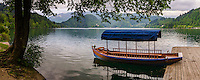 Pletna boat, a traditional rowing boat at Lake Bled, Bled, Julian Alps, Gorenjska, Upper Carniola Region, Slovenia, Europe