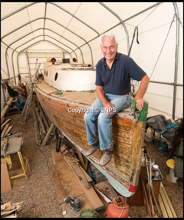 BNPS.co.uk (01202 558833)<br /> Pic: PhilYeomans/BNPS<br /> <br /> Boatyard owner David Wilson with the 'Count' - which amzingly rescued his father William from Dunkirk.<br /> <br /> Back from the dead - Count Dracula, the Dunkirk little ship that refuses to die.<br /> <br /> A boat yard owner is helping to restore the German-built 'little ship' which rescued his father and 711 other men from Dunkirk.<br /> <br /> David Wilson is one of the men painstakingly restoring the Count Dracula which carried his father Sergeant William Wilson and his fellow engineers home during Operation Dynamo. <br /> <br /> Sgt Norman was left behind with a group of engineers to blow up a bridge then they made their way along the coast looking for a means to escape.<br /> <br /> They found this boat with the crew washed up on a mud bank and the mechanic with them managed to jury rig the gear box to allow them to set off.<br /> <br /> The 50ft long ship had a remarkable existence even prior to Dunkirk as it was built for the German navy in 1913.