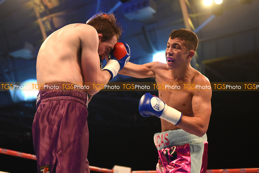 Lucas Ballingall (pink/grey shorts) defeats Harvey Hemsley during a Boxing Show at Olympia on 4th February 2017