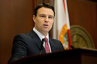 TALLAHASSEE, FLA. 5/3/13-SESSIONEND050313CH-House Speaker Will Weatherford, R-Wesley Chapel, sets out the plan for the final day of the regularly scheduled legislative session, May 3, 2013 at the Capitol in Tallahassee...COLIN HACKLEY PHOTO
