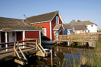 Restored workers' houses in the Britannia Heritage Shipyard, Steveston, British Columbia, Canada