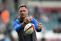 Bath Rugby Head Coach Tabai Matson passes the ball during the pre-match warm-up. Aviva Premiership match, between Leicester Tigers and Bath Rugby on September 3, 2017 at Welford Road in Leicester, England. Photo by: Patrick Khachfe / Onside Images