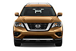 Car photography straight front view of a 2017 Nissan Pathfinder S 5 Door SUV Front View