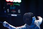 Karin Miyawaki (JPN), <br /> AUGUST 20, 2018 - Fencing : <br /> Women's Individual Foil  Round of 16 <br /> at Jakarta Convention Center Cendrawasih <br /> during the 2018 Jakarta Palembang Asian Games <br /> in Jakarta, Indonesia. <br /> (Photo by Naoki Morita/AFLO SPORT)