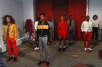 Models pose in outfits from the Head Of State+ Spring Summer 2018 collection, for New York Mens Day at Dune Studios on July 10, 2017; duing New York Fashion Week: Mens Spring Summer 2018.