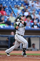 Fort Wayne TinCaps designated hitter Jake Bauers (25) hits a home run during a game against the Lake County Captains on August 21, 2014 at Classic Park in Eastlake, Ohio.  Lake County defeated Fort Wayne 7-8.  (Mike Janes/Four Seam Images)