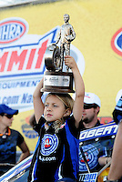 Apr. 3, 2011; Las Vegas, NV, USA: Autumn Hight , the daughter of NHRA funny car driver Robert Hight (not pictured) after winning the Summitracing.com Nationals at The Strip in Las Vegas. Mandatory Credit: Mark J. Rebilas-