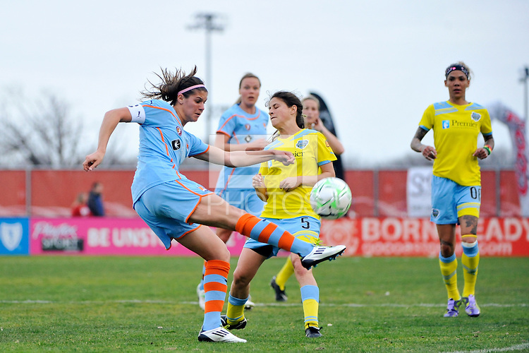 Brittany Taylor (14) of Sky Blue FC clears a ball during the first half against the Philadelphia Independence during a Women's Professional Soccer (WPS) match at Yurcak Field in Piscataway, NJ, on April 10, 2011.