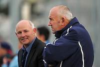 PNBHS coaches Mike Liddicoat (left) and Steve Burnley watch the 1st XI college football match between St Patrick's College (Town) College and Palmerston North Boys' High School at St Pat's College Artificial Turf, Wellington, New Zealand on Wednesday, 13 May 2015. Photo: Dave Lintott / lintottphoto.co.nz