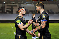 Francois Louw and Matt Banahan of Bath Rugby after the match. European Rugby Champions Cup match, between RC Toulon and Bath Rugby on January 10, 2016 at the Stade Mayol in Toulon, France. Photo by: Patrick Khachfe / Onside Images