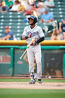 Socrates Brito (29) of the Reno Aces bats against the Salt Lake Bees in Pacific Coast League action at Smith's Ballpark on June 15, 2017 in Salt Lake City, Utah. The Aces defeated the Bees 13-5. (Stephen Smith/Four Seam Images)