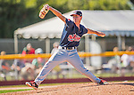 5 September 2016: Lowell Spinners pitcher Brad Stone on the mound against the Vermont Lake Monsters at Centennial Field in Burlington, Vermont. The Monsters defeated the Spinners 9-5 to close out their 2016 NY Penn League season. Mandatory Credit: Ed Wolfstein Photo *** RAW (NEF) Image File Available ***
