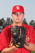 Batavia Muckdogs pitcher Justin Wright poses for a photo in a Cardinals uniform before a game vs. the State College Spikes at Dwyer Stadium in Batavia, New York July 17, 2010.   Batavia defeated State College 12-11 in 11 innings.  Photo By Mike Janes/Four Seam Images
